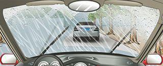 在这种雨天跟车行驶如何使用灯光?